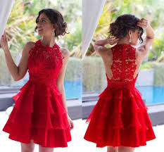 2016 new red homecoming dresses mini short jewel hollow back