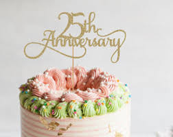 25th anniversary cake toppers anniversary topper etsy