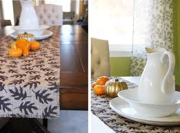 Fall Table Runners by Fall Decor Burlap Table Runner With Leaf Prints Sew Or No Sew