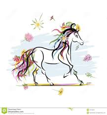 horse sketch with floral decoration for your stock image image
