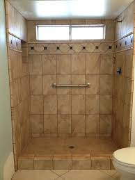 exquisite small bathroom shower tile design using brown marble