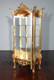 Antique Brass Display Cabinet Hand Crafted 7ft Tall Solid Mahogany Gold French Curio Display