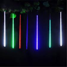 solar powered tube lights 8 30cm 144led christmas tree light meteor shower rain tube light