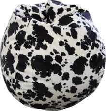 cowhide print animal fabric bean bag chair