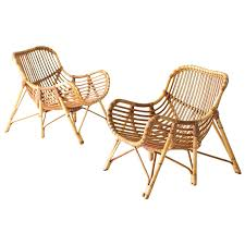 Vintage Bamboo Chairs Danish Bamboo And Wicker Lounge Chairs By Laurids Lonborg For Sale