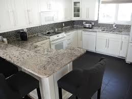 White Kitchen Cabinets With Granite Countertops Decorating White Wooden Kitchen Cabinet With Black Handle And