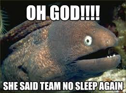 Team No Sleep Meme - oh god she said team no sleep again bad joke eel quickmeme