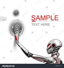 futuristic design template female robot pushing stock illustration