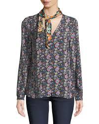 scarf blouse frame open scarf v neck sleeve floral print blouse neiman