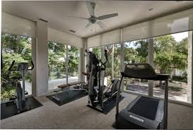 interior elegant home gym design ideas using running treadmill