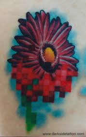 galleries pixel flower 2 tattoo design