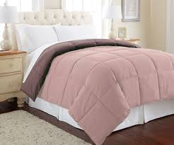 down alternative reversible comforter mocha dusty pink king