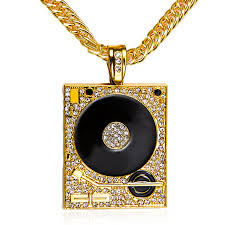 gold necklace hip hop images Dj phonograph big pendant necklace hiphop chain artistic pod jpg