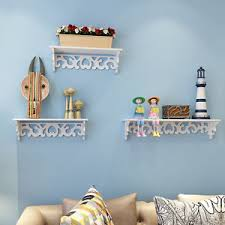 3 x white chic filigree floating wooden wall shelf cd book display