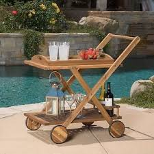 outdoor serving cart wood tray wine rack portable bar dining