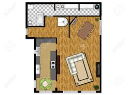 2d floor plan of the first level with kitchen living room