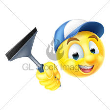 clean emoji cleaner emoji emoticon with squeegee gl stock images