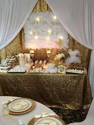 white and gold baby shower heaven sent baby shower party ideas gold baby showers heavens