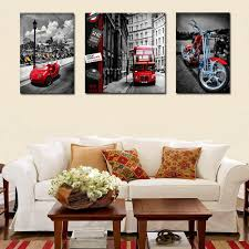 canvas decorations for home 3 pieces vintage city street bus car motorcycle canvas painting