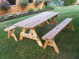 Round Redwood Picnic Table by Table Beauteous Picnic Table With Detached Benches Prince
