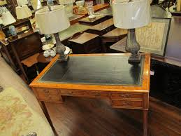 bench made pippy yew wood leather top writing table