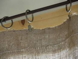 burlap curtains for my big sliding glass doors in the kitchen
