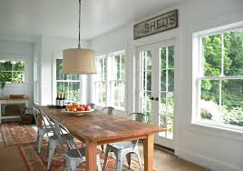 Pottery Barn Style Dining Rooms Custom White Drum Shade Chandelier Framing The Table A Perfect