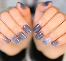 24pcs set grey marble design lady nails acrylic full false nail