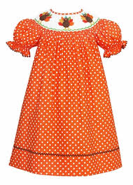 Thanksgiving Dress Baby Baby Toddler Orange White Dots Smocked Thanksgiving