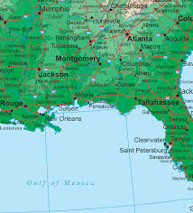 louisiana florida map south states topo map