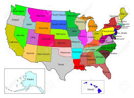 map usa color usa color map with state name stock photo picture and royalty