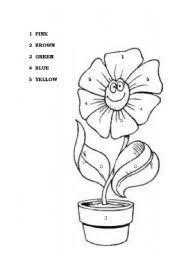 worksheet color the flower