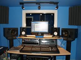 interior small home music studio desk designs with blue sky wall