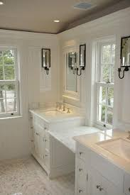 bathroom countertops makeup station in the middle tile sconces