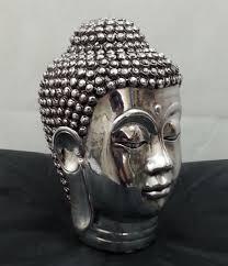 chrome silver buddha sculpture ornament indoor outdoor garden