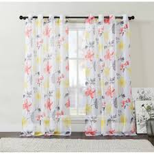 Yellow Grommet Curtain Panels by Discontinued Vcny Home Floral Serena Sheer Grommet Top Window