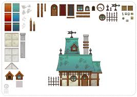 reusable 2d art objects for background buildings using inkscape