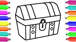 how to draw treasure chest coloring pages for kids art colors