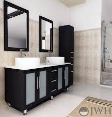 Bathroom Vanities 59 Inches Jwh Living 59 U0026quot Lune Double Sink Vanity Glass Top