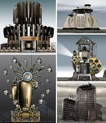 steampunk style illustration cities homes u0026 factories urbanist