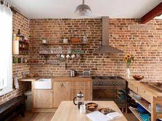 cuisine avec mur en mur briques exposées dans la cuisine une très idée déco walls