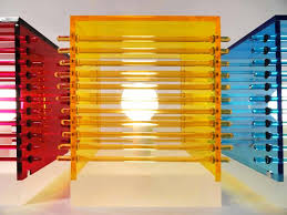 cool interior lighting design of clear frosted cubes of color