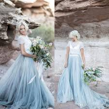modest dusty blue tulle white lace a line country wedding dresses