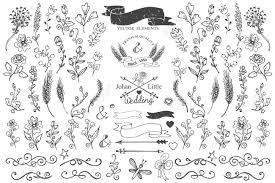 floral decor doodle borders ribbons floral decor element for logo royalty free