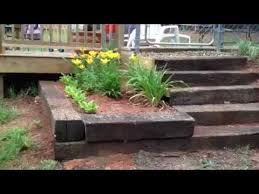 how to build steps out of railroad tie completed youtube