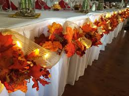 fall wedding decor head table leaves burlap lights easy diy