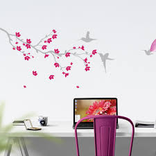 branch with blossom and birds nature wall sticker vinyl impression