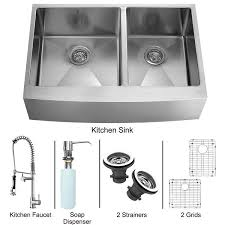 Vigo Stainless Steel Faucet Vigo Vg15269 All In One 36 Inch Farmhouse Stainless Steel Double