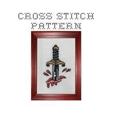 diy dagger tattoo flash pdf original cross stitch pattern