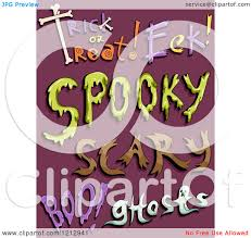 clipart of halloween words on purple royalty free vector